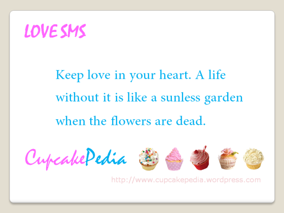 Love SMS Cupcakepedia keep love in heart, SMS, Love SMS, text messages, valentine sms, cupcake sms, dessert sms, sweet sms