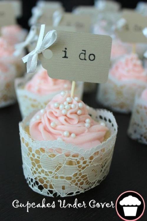 wedding cupcakes, pink cupcakes, white pearls, wedding, I do, white ...