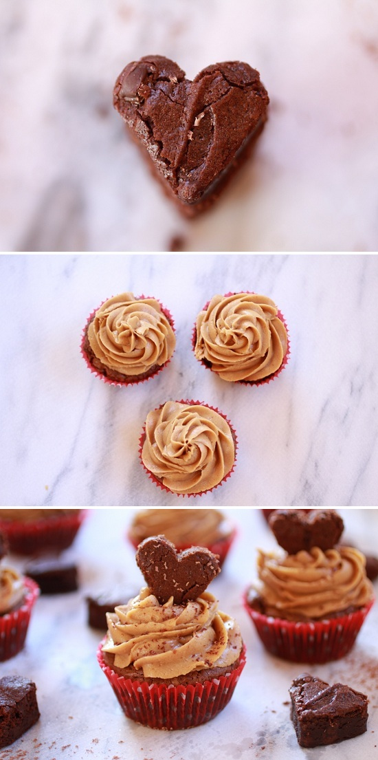 Love Heart Brownie Cupcakes with Peanut Butter Frosting - Cupcakepedia