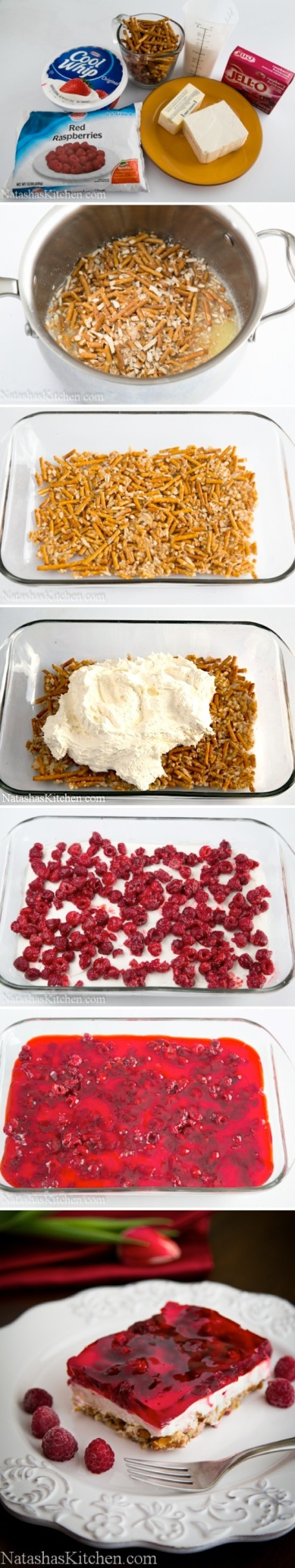 Raspberry Cool Whip Cheese Pretzel Jello by cupcakepedia, jello, raspberries, cool whip, whipped cream, cheese